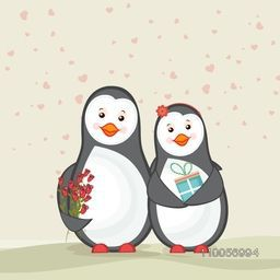 Cute couple of penguins holding gift and red roses on hearts decorated background for Happy Valentine's Day celebration.