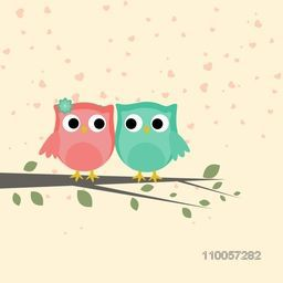Cute love bird couple sitting on tree branch for Happy Valentine's Day celebration on hearts decorated background.