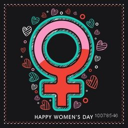 Greeting card design with stylish female symbol on hearts decorated background for Happy International Women's Day celebration.