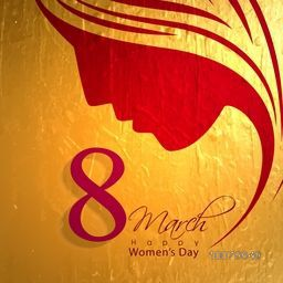 Elegant greeting card design with creative illustration of a woman's face on golden background for 8 March, Happy Women's Day celebration.