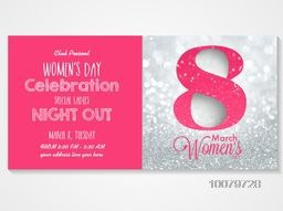 Beautiful Invitation Card design with stylish text 8 March on silver glitter background for Women's Day, Night Party celebration.