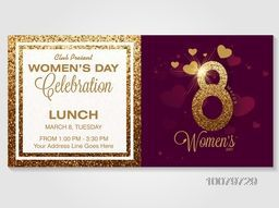 Golden text 8 March on hearts decorated background, Creative Invitation Card design for Women's Day celebration.