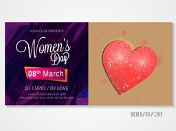 Creative Invitation Card design with glossy heart for 8th March, Happy Women's Day celebration.