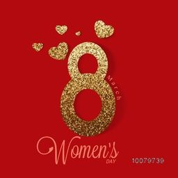 Creative golden text 8 March with hearts on red background for Happy Women's Day celebration.
