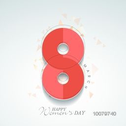 Elegant greeting card design with stylish text 8 March for Happy Women's Day celebration.