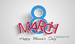 Happy Women's Day celebration with stylish paper text 8 March on grey background.