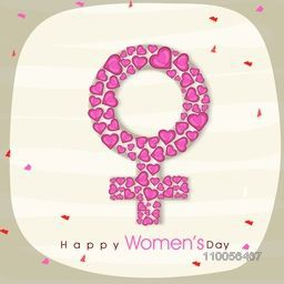 Pink hearts decorated female symbol for International Women's Day celebration.