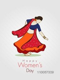 International Women's Day celebration with young beautiful lady in traditional Indian dress on grey background.