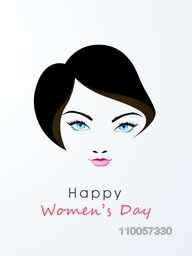 Beautiful face of a young girl with blue eyes on grey background for Happy Women's Day celebration.