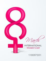 International Women's Day celebration with pink text 8 March and female symbol on grey background.