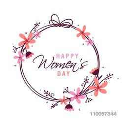 International Women's Day celebration frame with flowers decoration on white background.