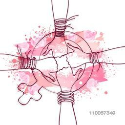 International Women's Day celebration with four girl wrists with female symbol on pink background.