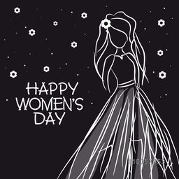 International Women's Day celebration with young girl sketch on flowers decorated black background.