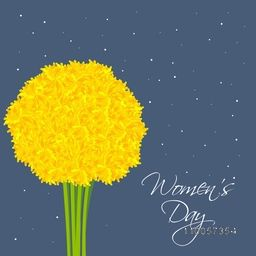 Beautiful yellow flower bouquet on blue background for International Women's Day celebration.