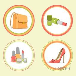 International Women's Day celebration sticker, tag or label design with girls fashion accessories.
