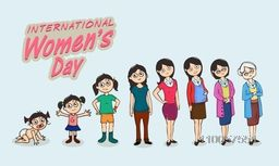 Creative illustration of a woman at various stages of life on blue background for International Women's Day celebration.