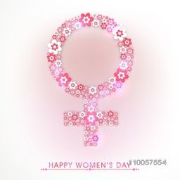 Pink flowers decorated female symbol for International Women's Day celebration.