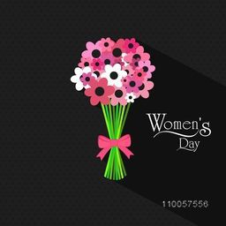 International Women's Day celebration with beautiful flower bouquet on black background.