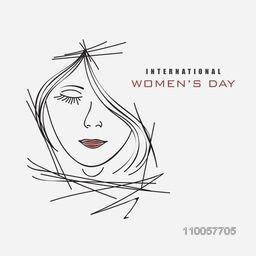 Sketch of a young girl face for International Women's Day celebration.