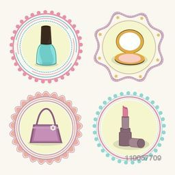 Stylish sticker, tag or label design with cosmetic products and hand bag for International Women's Day celebration.