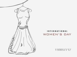 International Womens Day celebration with black and white illustration of a modern dress on hanger.
