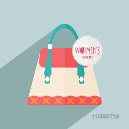 Happy Women's Day celebration with ladies hand bag on blue background.