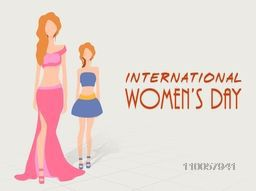 Young fashionable girls in modern dress celebrating on occasion of International Women's Day.