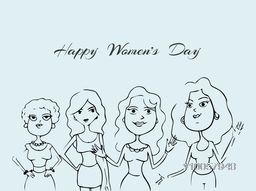International Women's Day celebration with sketch of young fashionable girls in different pose on blue background.