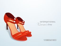 International Women's Day celebration with beautiful red ladies shoes on blue background.