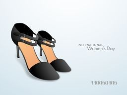 Glossy ladies shoes in black color for International Women's Day celebration.