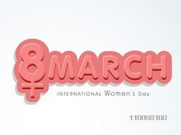 3D text 8 March with women symbol for International Women's Day celebration, can be used as poster or banner design.