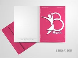 Elegant greeting card design with envelope and illustration of female symbol for International Women's Day celebration.