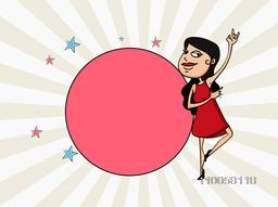Funny cartoon of a young girl in dancing pose and blank sticker on rays background for International Women's Day celebration.