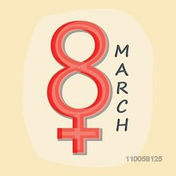 Women symbol with number 8 on yellow background for Happy Women's Day celebration, can be used as greeting or invitation card design.