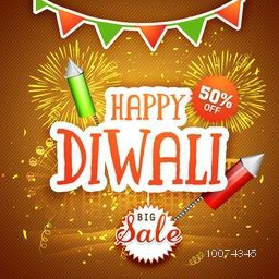 Big Sale poster, banner or flyer design with 50% discount offer on shiny firework decorated background for Happy Diwali.