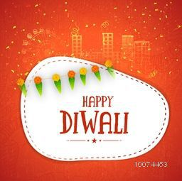 Glossy white frame with traditional mango leaves on shiny urban city background for Indian Festival of Lights, Happy Diwali celebration.