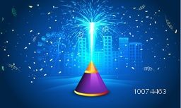 Indian Festival of Lights, Happy Diwali celebration with exploded firecracker on shiny blue urban city background.