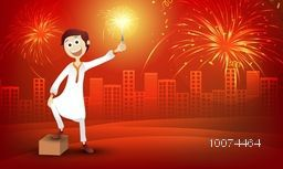 Cute boy in traditional dress, playing with firecracker on stylish red urban city background for Indian Festival of Lights, Happy Diwali celebration.