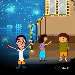 Cute little kids enjoying and celebrating with firecrackers on shiny urban city background for Indian Festival of Lights, Happy Diwali.