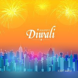 Beautiful view of a urban city decorated with lights on fireworks background for Indian Festival, Happy Diwali celebration.