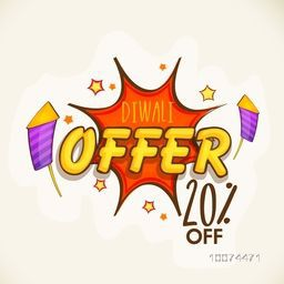Stylish text Diwali Offer on pop art explosion with 20% off, can be used as poster, banner or flyer design for Indian Festival of Lights celebration.