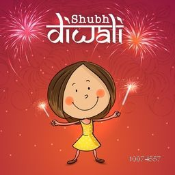 Cute little girl playing with firecrackers, celebrating and enjoying on occasion of Indian Festival, Happy Diwali celebration on shiny fireworks background.