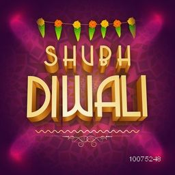 Stylish Poster or Banner with 3D text Shubh Diwali (Happy Diwali) shining in lights on floral decorated purple background for Indian Festival of Lights celebration.
