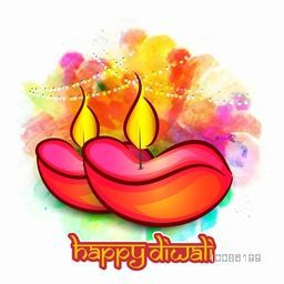 Colourful creative Lit Lamps on splash, Beautiful Greeting Card, Vector Illustration for Indian Festival of Lights, Happy Diwali Celebration.