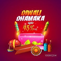 Diwali Dhamaka Offer Poster, Bumper Price Banner or Flyer, Best Discount Sale Background, Upto 45% Off, Vector Illustration with colourful glossy Firecrackers.