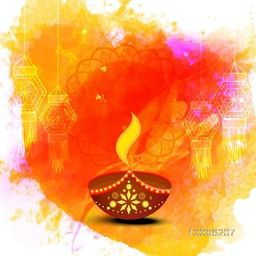 Creative Oil Lamp (Diya) with hanging Lamps (Kandil) on colorful abstract background, Elegant greeting card with space for your wishes, Vector illustration for Happy Diwali Festival celebration.
