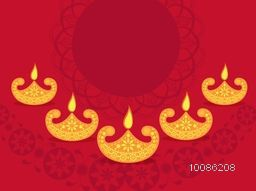 Happy Diwali celebration background decorated with creative oil lamps and floral design, Elegant greeting card with space for your wishes, Vector illustration for Indian Festival concept.
