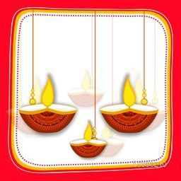 Creative hanging Oil Lamps (Diya) on white background, Stylish Frame design, Elegant Greeting Card with space for wishes, Indian Festival of Lights, Happy Diwali celebration concept