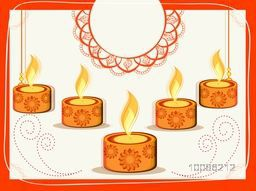 Creative Oil Lamps (Diya) decorated greeting card with space for your wishes for Indian Festival of Lights, Happy Diwali celebration.