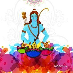 Hindu Mythological Lord Rama and illuminated Oil Lamps (Diya) on colorful abstract floral background, Vector illustration usable for Indian Festival, Happy Dussehra and Diwali celebration.